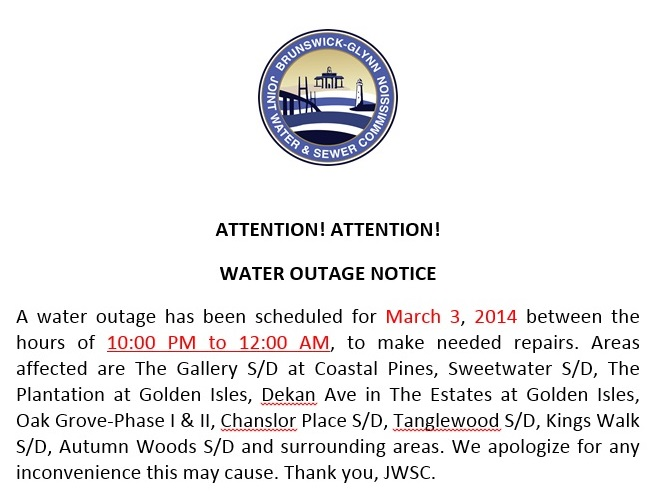 Water Outage - March 3, 2014